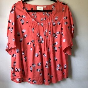 {anthro} MAEVE coral flutter sleeve top | sz 6